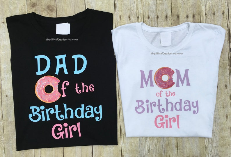 Donut Birthday Shirt For Mom And Dad Set Of 2 Shirts
