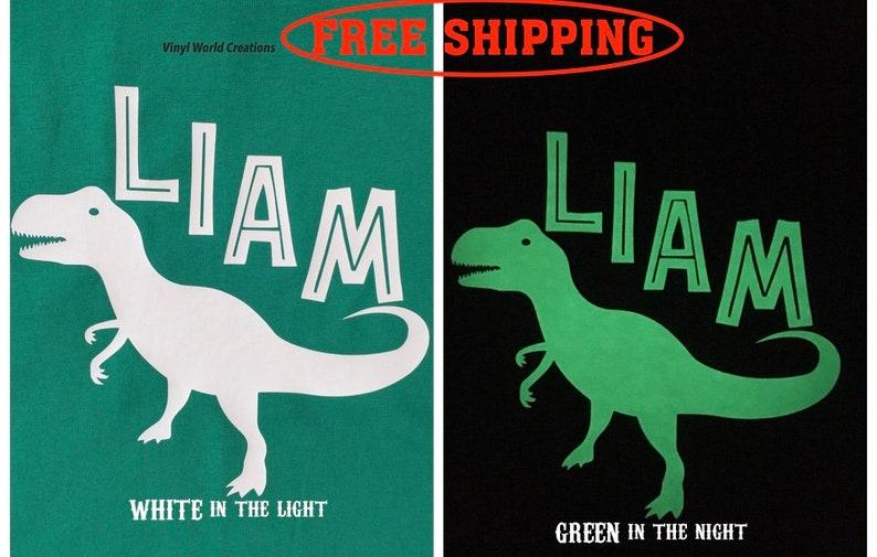 5be5d096 Personalized Glow in the Dark Dinosaur Shirt/Boys Dinosaur | Etsy