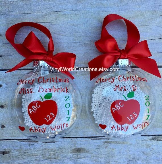 Christmas Presents For Teachers.Set Of 2 Christmas Ornaments For Teacher Christmas Presents For Teacher Christmas Gift For Teacher Holiday Gift For Teacher Apple