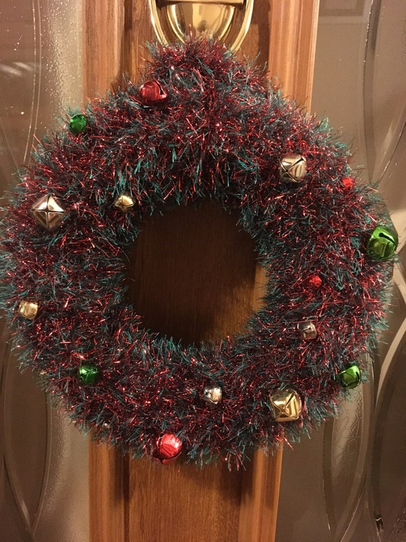 Hand Knitted Christmas Wreath Xmas Decorations Christmas Etsy