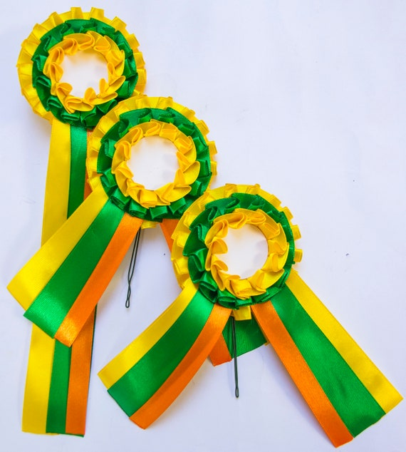 Set of 3 rosettes, for pets, cats, dogs and horses, party ribbon or badge