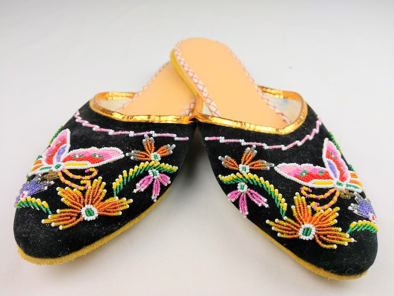 277513c195a0d Vintage Shoe Slipper Slip On Heavily Beaded Art Butterfly | Etsy