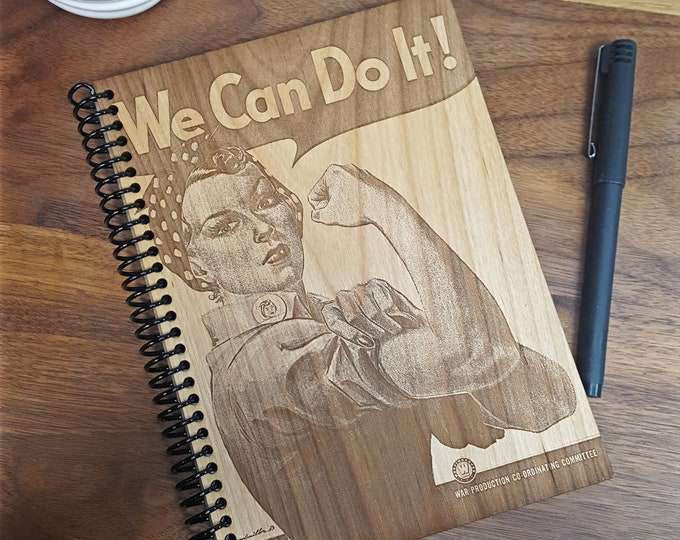 Featured listing image: Wood Notebook - Rosie the Riveter Journal - Laser Engraved Wood - Lined, Blank, or Weekly Planner Pages