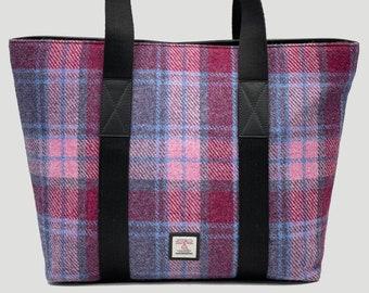 Scottish Harris Tweed  A4 Tote Shopper Bag in pink purple check Tartan Tweed Tote Plaid Tweed Tote Students Tweed Shoulder Bag