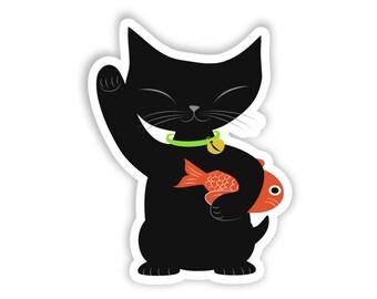 Maneki Neko Sticker, Maneki-Neko, Maneki Neko Cat, Beckoning Cat, Lucky Cat, Japanese Lucky Cat, Chinese, Waving Cat, Black Maneki Neko