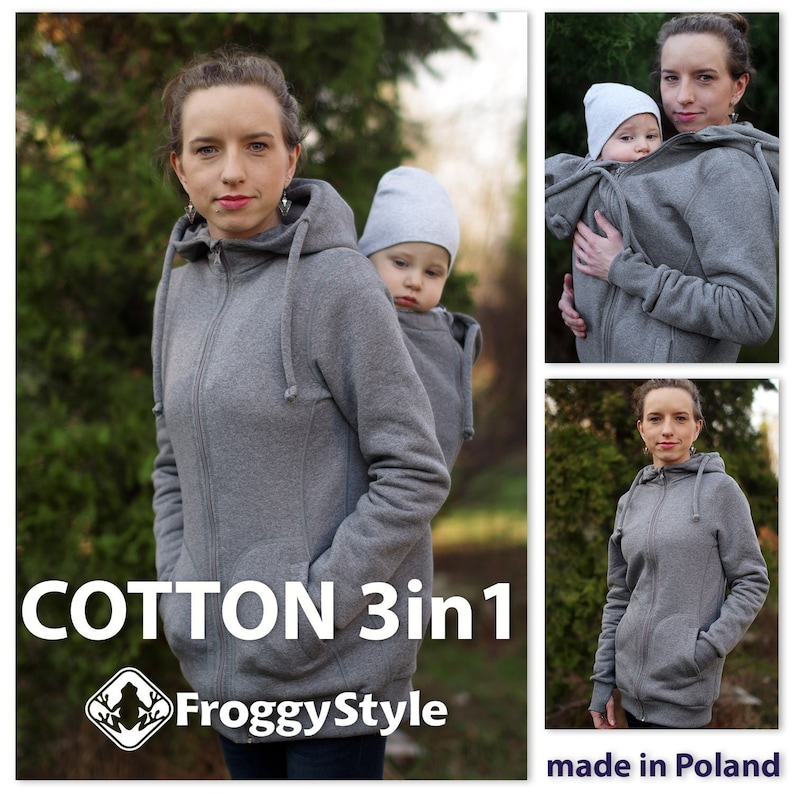 BEST 3in1 Front//Back cotton Babywearing Jacket FROGGY STYLE kangaroo hoodie coat