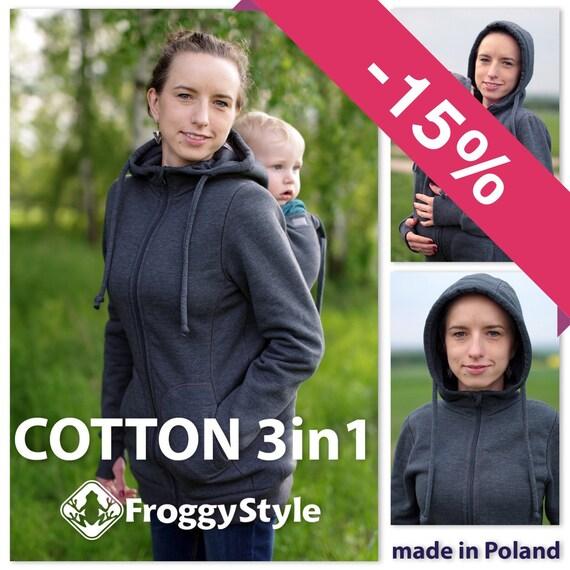 Manteau veste de portage bébé 3en1 en coton FROGGY STYLE   Etsy d4a9cc7f306