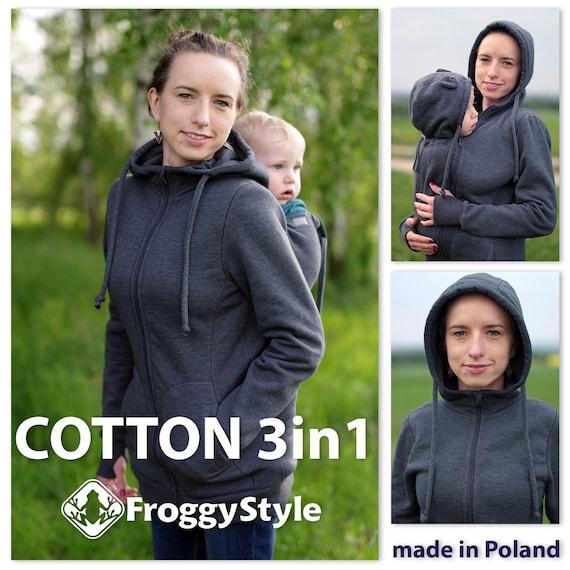 3-in-1 Front//Back Babywearing Jacket FROGGY STYLE kangaroo hoodie fleece coat