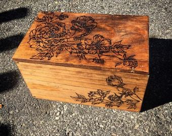Wood Burned Jewelry Box -Large