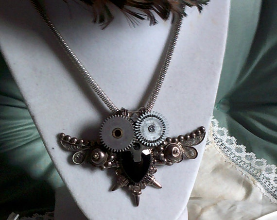 Steampunk Owl Necklace, Up-cycled One-of-a-kind