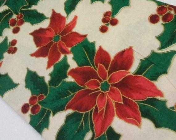 1 Meter Cotton Christmas Fabric, Poinsettia Print Fabric, Christmas Cheer, Christmas Floral Material