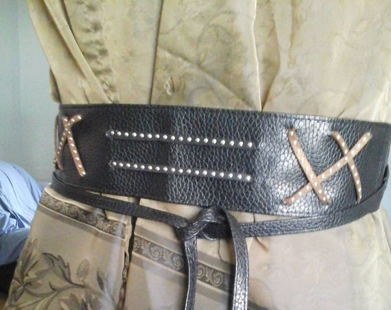 Steampunk Black Faux Leather Wrap Belt, One Size
