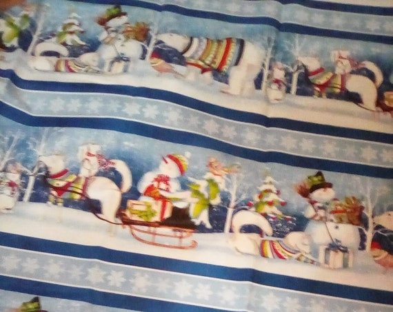 1 Meter Cotton Novelty Fabric, Snowmen Winter Theme Fabric, Snowy Friends by Wilmington, Winter Fun Fabric