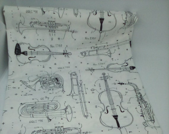 1 Yard 100% Cotton Fabric, Opus Instruments on White Background, By Windham Fabrics