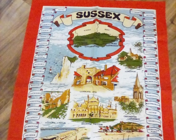 Sussex England Tea Towel, Souvenir Sussex Tea Towel Made in Britain, Cotton Novelty Tea Towel, Made in Britain