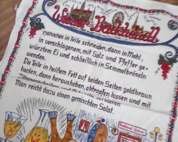 Vintage German Tea Towel, German Recipe Tea Towel, German Recipe for Wiener Backhendl , Souvenir Tea Towel Made in Germany
