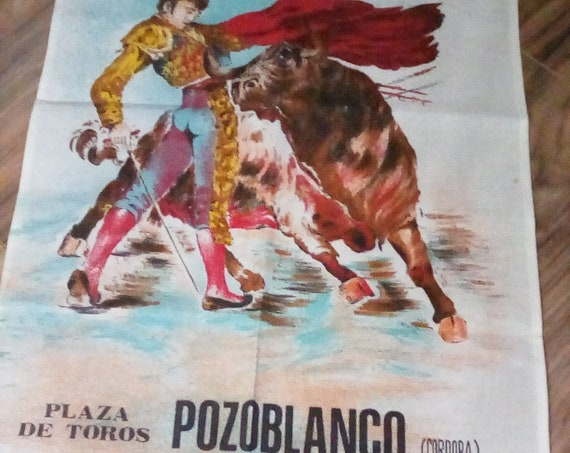 Cotton Novelty Tea Towel, Spanish Traditional Fabric Poster, Vintage Style Bull Fighter Tea Towel, Plaza de Toros Linen Poster Fabric Art