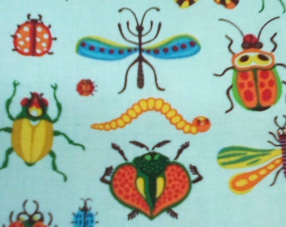 1 Yard Cotton Novelty Fabric, Bugs Print Fabric by Clothworks, Beetlemania Fun Material Print,  Insect Novelty Material