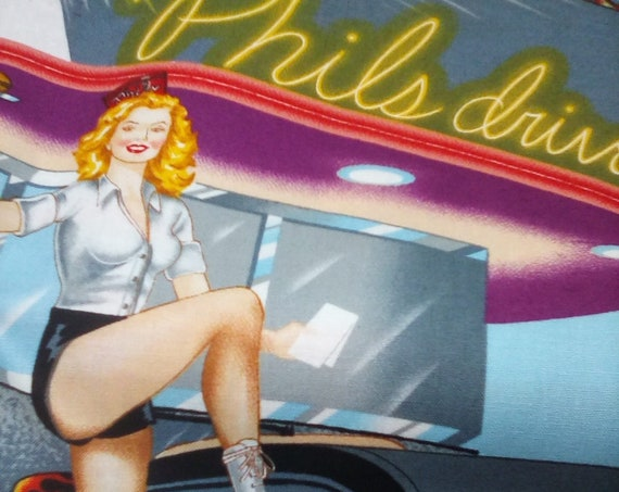 1 Yard Cotton Novelty Fabric, Retro Cars and Pin-Up Girls, Phil's Drive-In Girls and Cars Print, 100% Cotton Material