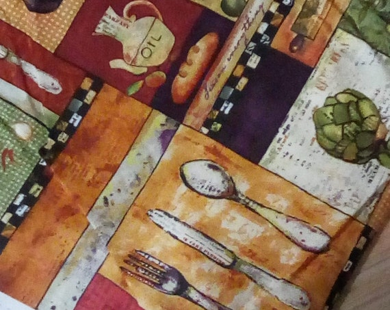 4 Yards Novelty Cotton Fabric, Kitchen Food and Gourmet Theme