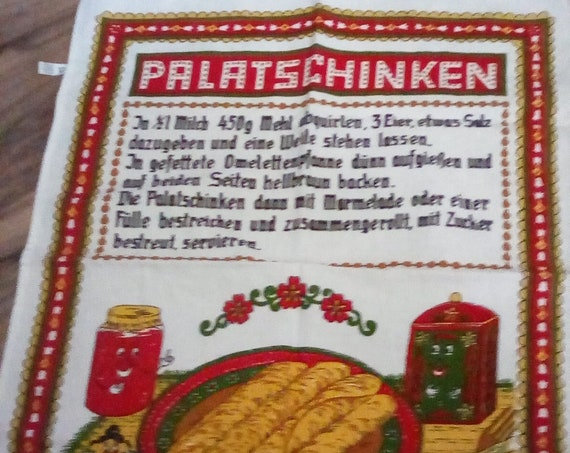 Vintage German Recipe Tea Towel, German Souvenir Tea Towel, German Recipe for Palatschinken, Made in Germany