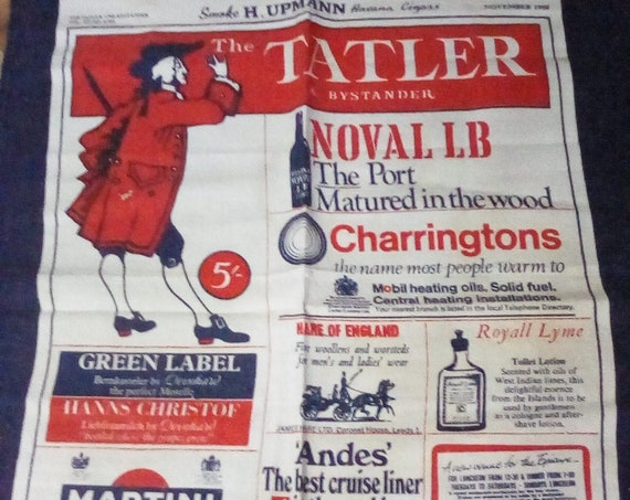 Vintage British Tea Towel, British Cotton Kitchen Towel, The Tatler & Bystander 1970s British Souvenir Tea Towel