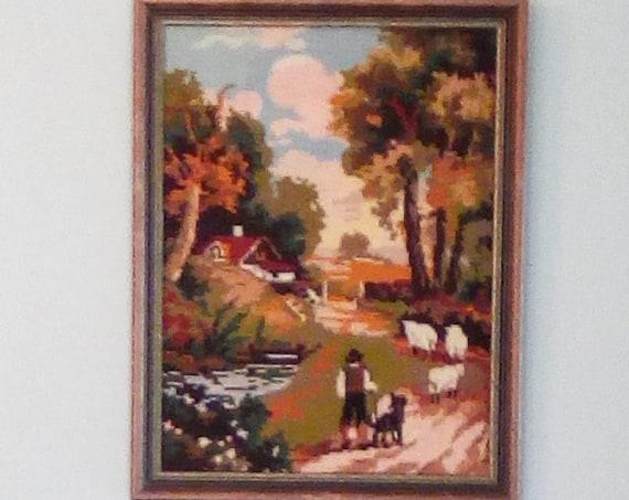 Vintage Needlepoint, Framed Landscape, Framed Needlepoint