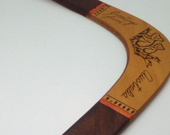 Genuine Australian Aboriginal Throwing Boomerang, Australian Wood Boomerang, Koa!a Design Wood Boomerang, Made in Australia