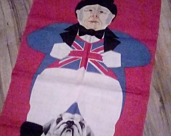 Vintage Irish Ulster Linen Tea Towel, John Bull and Bulldog with Union Jack, Collectible British Towel