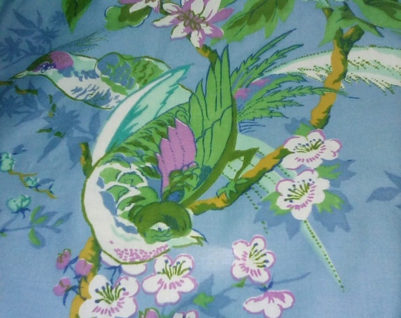 2.5 Yards Bird and Floral Fabric, Water Resistant Cotton Blend Material, Upholstery Water Resistant and Anti-pill