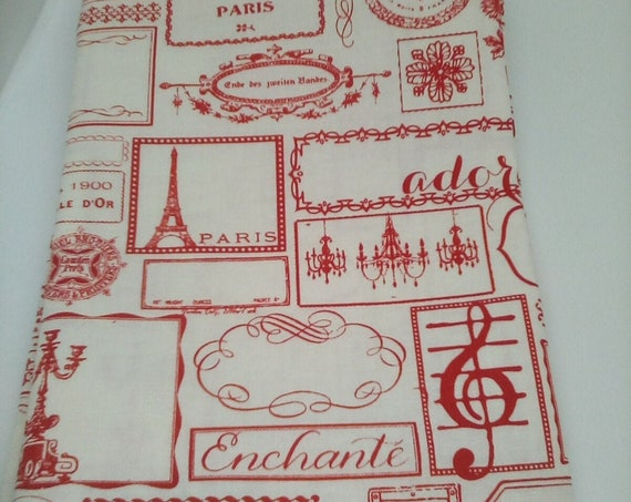 1 Meter Cotton Novelty Fabric, Paris Toile, Red and White Paris Novelty Print by Riley Blake