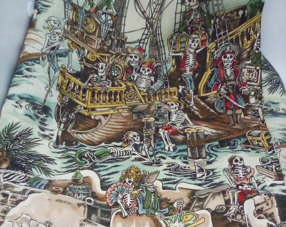 1 Yard of 100% Cotton Fabric, Skeleton Pirates on Ships, Fabric Art, Skellewegs on Pirate Ships