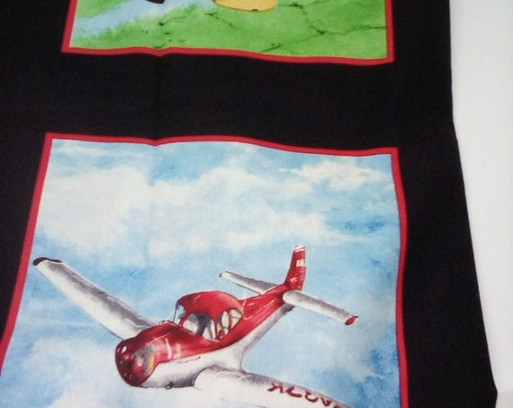 Airplane Quilting Panel, Cotton Novelty Panel, Avionics Theme Sewing Panel, Cotton Airplane Material