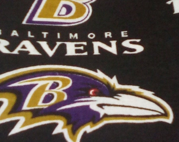 1 Yard of 100% Cotton Novelty Fabric, Baltimore Ravens Logo, NFL Ravens Licenced Fabric, Baltimore Ravens Logo Fabric
