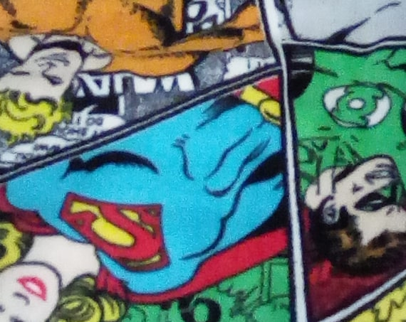 D.C. Comics Flannel Fabric, 2 Yards of superhero collage, Flannel Novelty Fabric