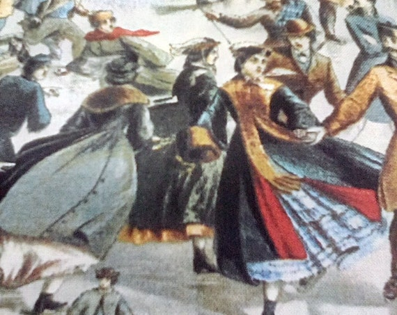 1 Yard Victorian Novelty Cotton Fabric, Victorian Skating Scenes,  Carrier and Ives