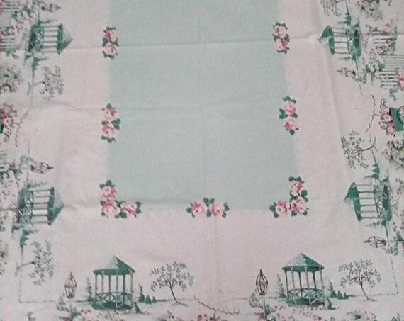 Vintage Tablecloth Spring Garden, Garden Party Table Linen