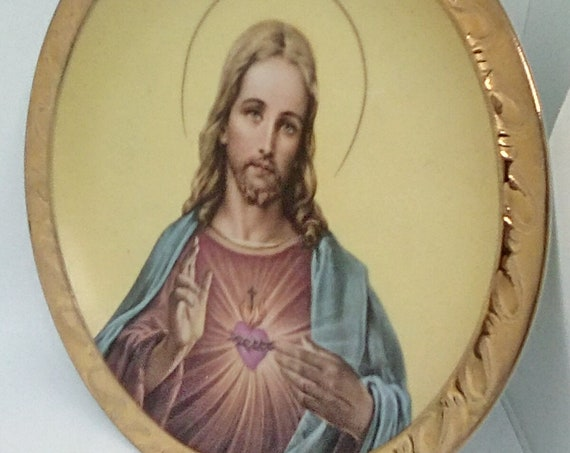 Jesus Sacred Heart Plate, Jesus Holy Plate by Giftcraft Japan, Golden Rimmed Jesus Plate, Religious Gift Jesus Christ Plate
