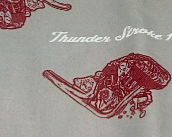 1 Yard  Motorcycle Engines Fabric, Indian Motorcycle Engines Novelty Material, Man Cave Indian Motorcycle, Motorcycle Engines