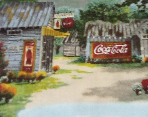 2 Yards Vintage Style Coca Cola Fabric, Coke Country Life Print, Licensed Coca Cola Fabric
