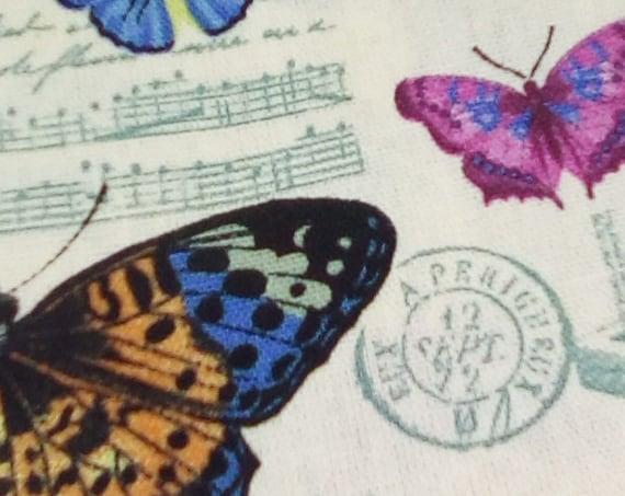 2 Yards Butterflies Print, Butterflies Cotton Canvas, Butterflies in Ivory Fabric
