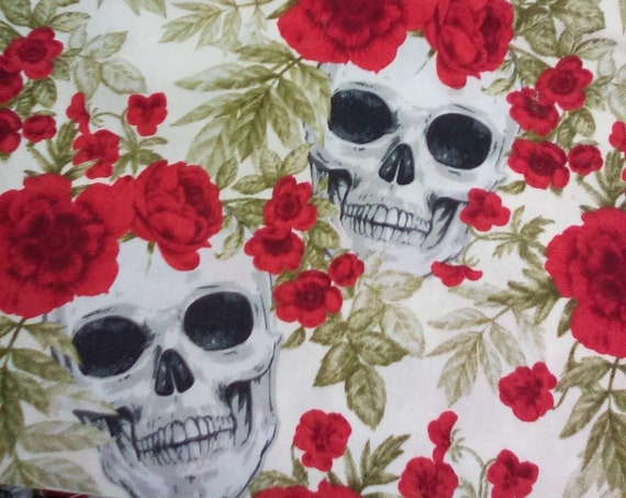 Novelty Fabric, Skull and Roses Material, Gothic Print Cotton fabric, 3 yards