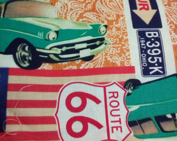 2 Yards Cotton Novelty Fabric, Route 66 and American Cars Material, Cotton Poplin