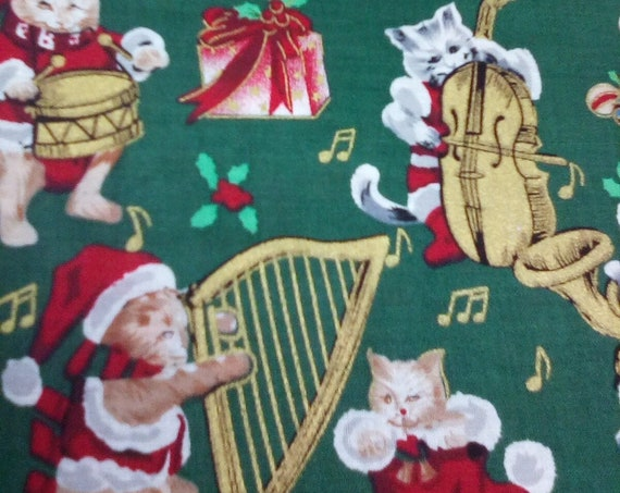 1 meter Cotton Novelty Christmas Fabric, Santa Kittens,Festive Christmas Cats Fabric, Festive Cats Playing Music Material