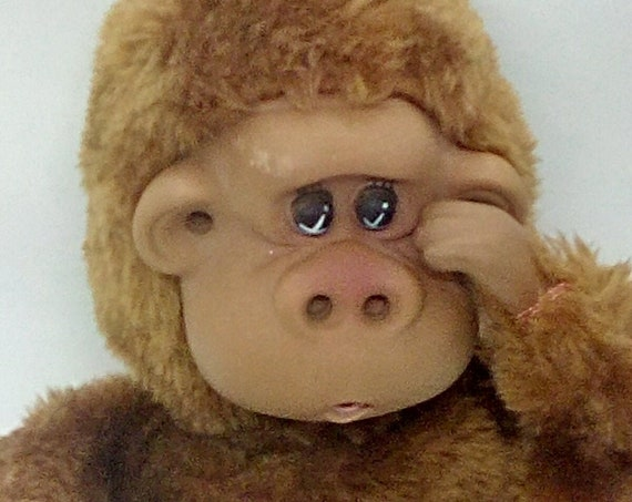 Vintage Russ Plush Rutherford III Toe and Finger Sucking Monkey, Rutherford III Plush Toy Monkey