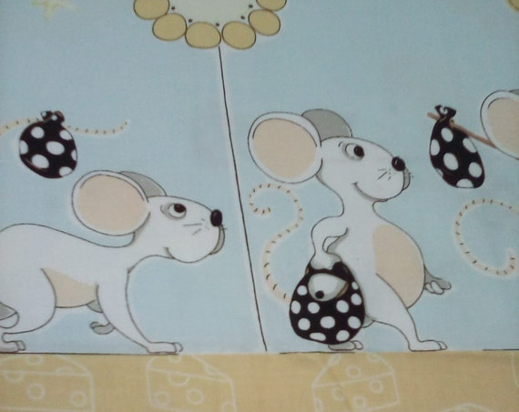 1 Meter Cotton Novelty Fabric,  Mice Border Cotton Fabric, Mouse Border Material, Nursery Decor