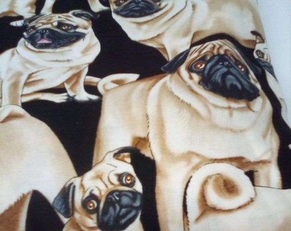 2 Yards Cotton Novelty Fabric, Pugs Print Material, 100% Cotton Pugs Print, Face Masks Fabric