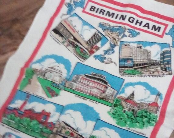 Vintage Tea Towel, Birmingham Souvenir Tea Towel, Cotton Vintage UK Towel