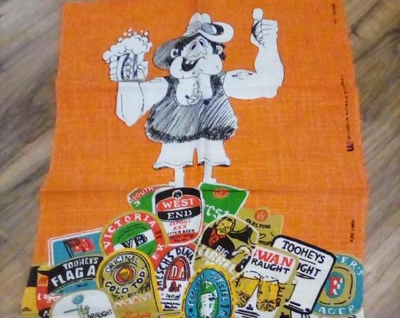Vintage Australian Tea Towel, Aussie Beer Lover's Souvenir Towel,  Aussie Beer Advertisement Towel, Australian Beer