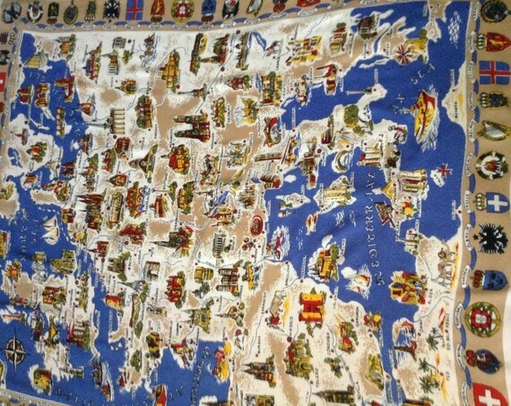 Vintage Tablecloth of Europe, Souvenir Tablecloth of European Map of Landmarks and Coats of Arms, Tablecloth Europe Map